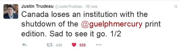 Guelph Mercury 30 Trudeau